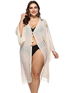cd76dd7820 sanatty Women's Sexy Long Sleeve Cover Up Crochet Swimwear Plus Size Open  Front Cardigan