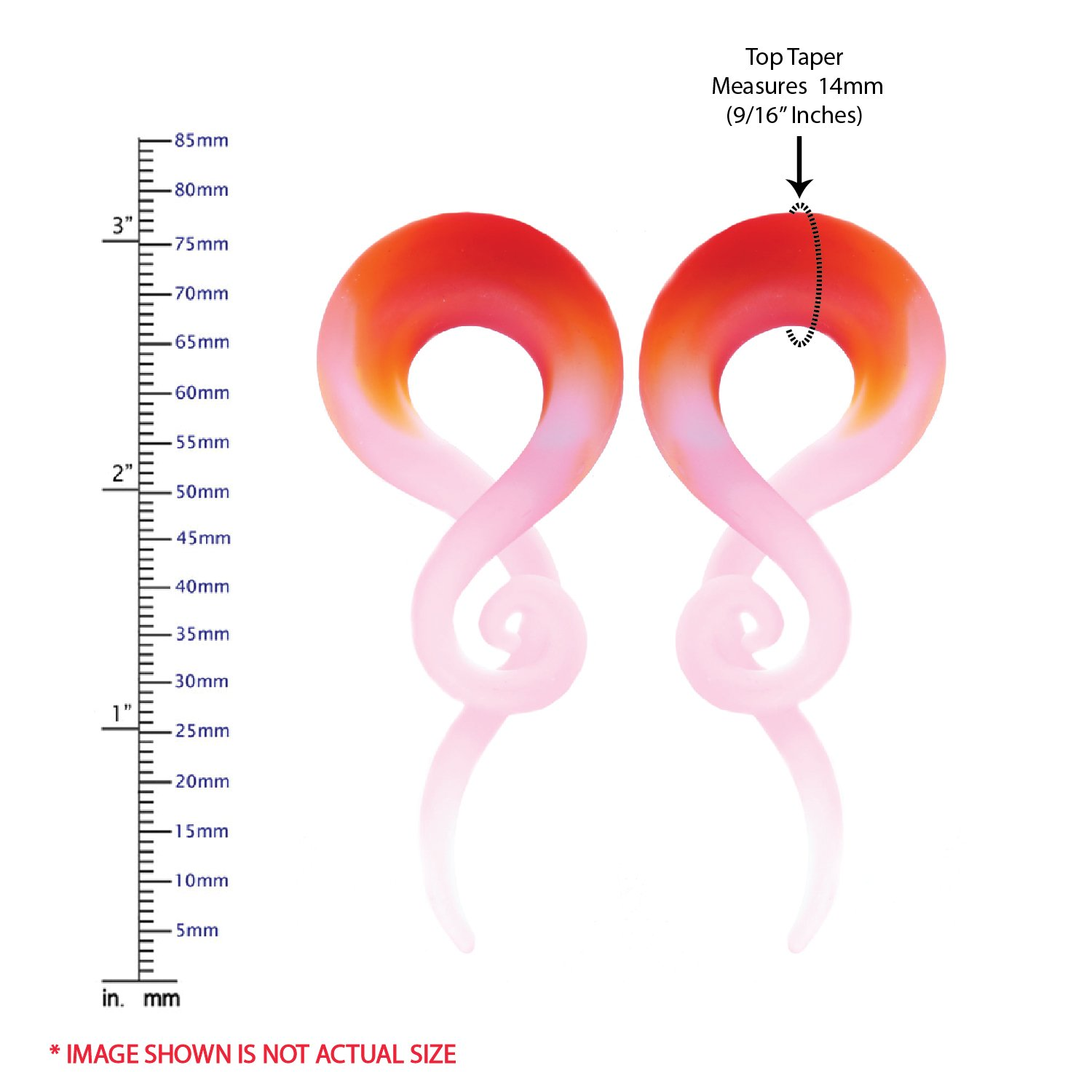 BodyJ4You 2PC Glass Ear Tapers Plugs 4G-16mm Red Pink Swirl Spiral Gauges Piercing Jewelry Set TP7090-12mm