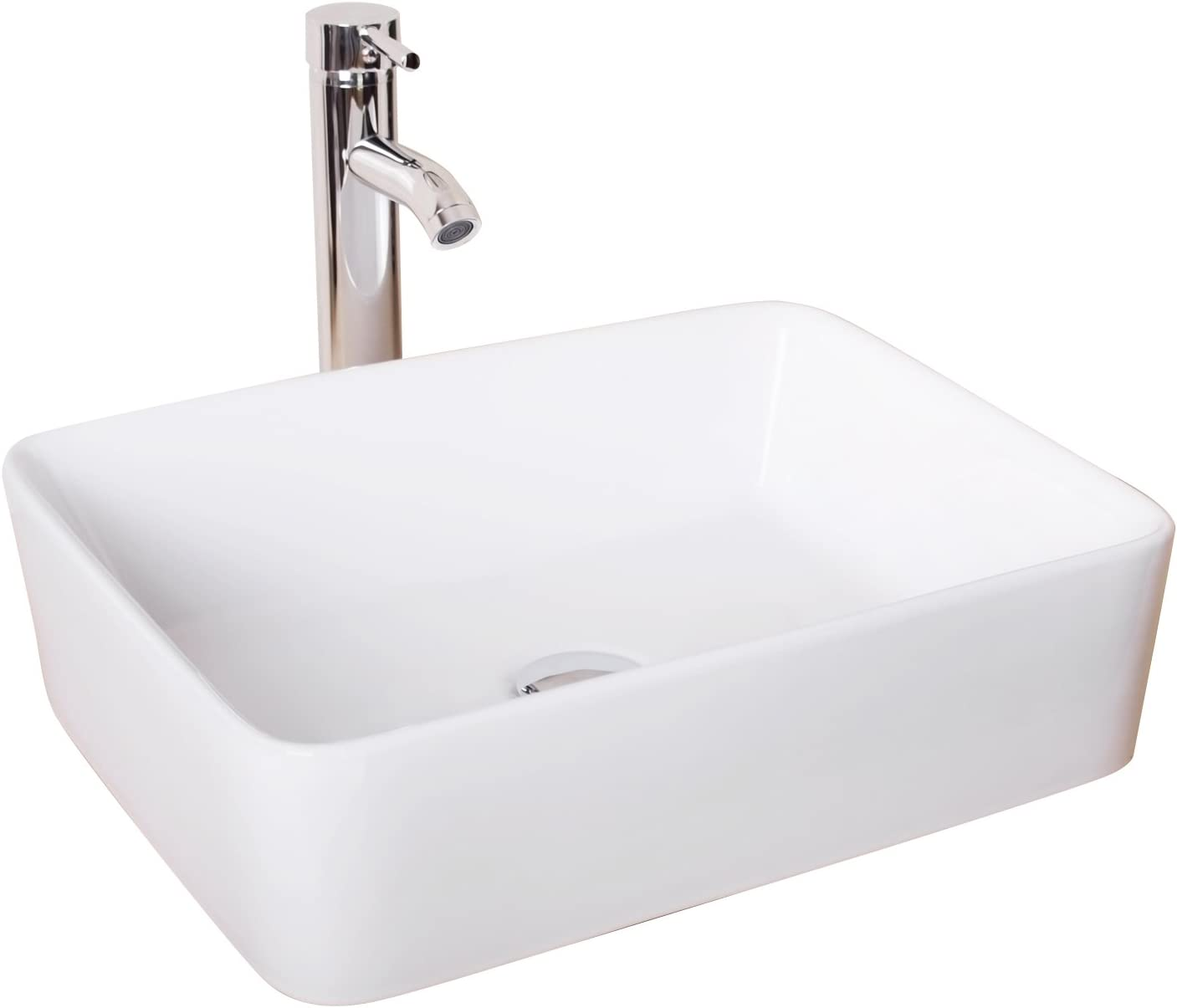 Sliverylake Bathroom Rectangle Porcelain Vessel Sink White Ceramic Sink Basin Chrome Drain Faucet Combo
