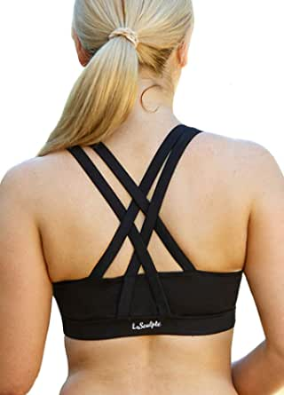 LaSculpte Women's Padded Strappy Criss Cross Back Sexy Sports Bra High Impact Workout Running Yoga Bra, 10-20