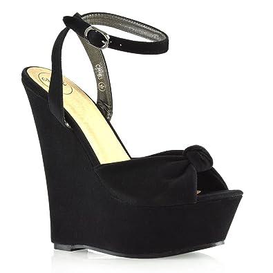 8cd39dd163 ESSEX GLAM Womens Wedge Sandals Ladies Black Faux Suede Knot Platform Peep  Toe Shoes 6 B