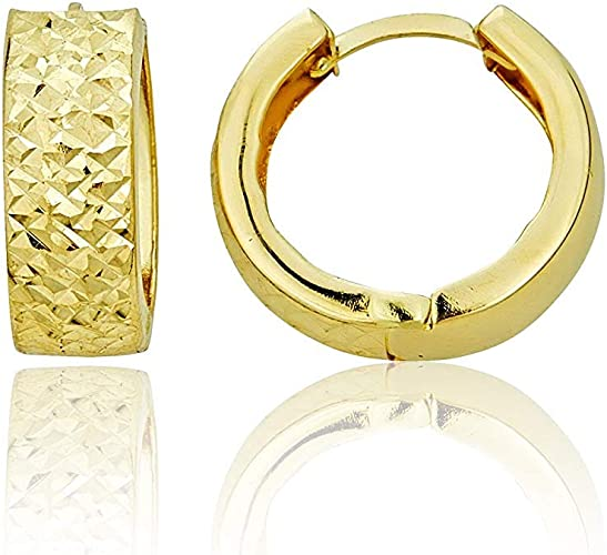 14k Yellow OR White Gold 2mm Thickness Multifaceted Huggie Earrings 11 x 11 mm