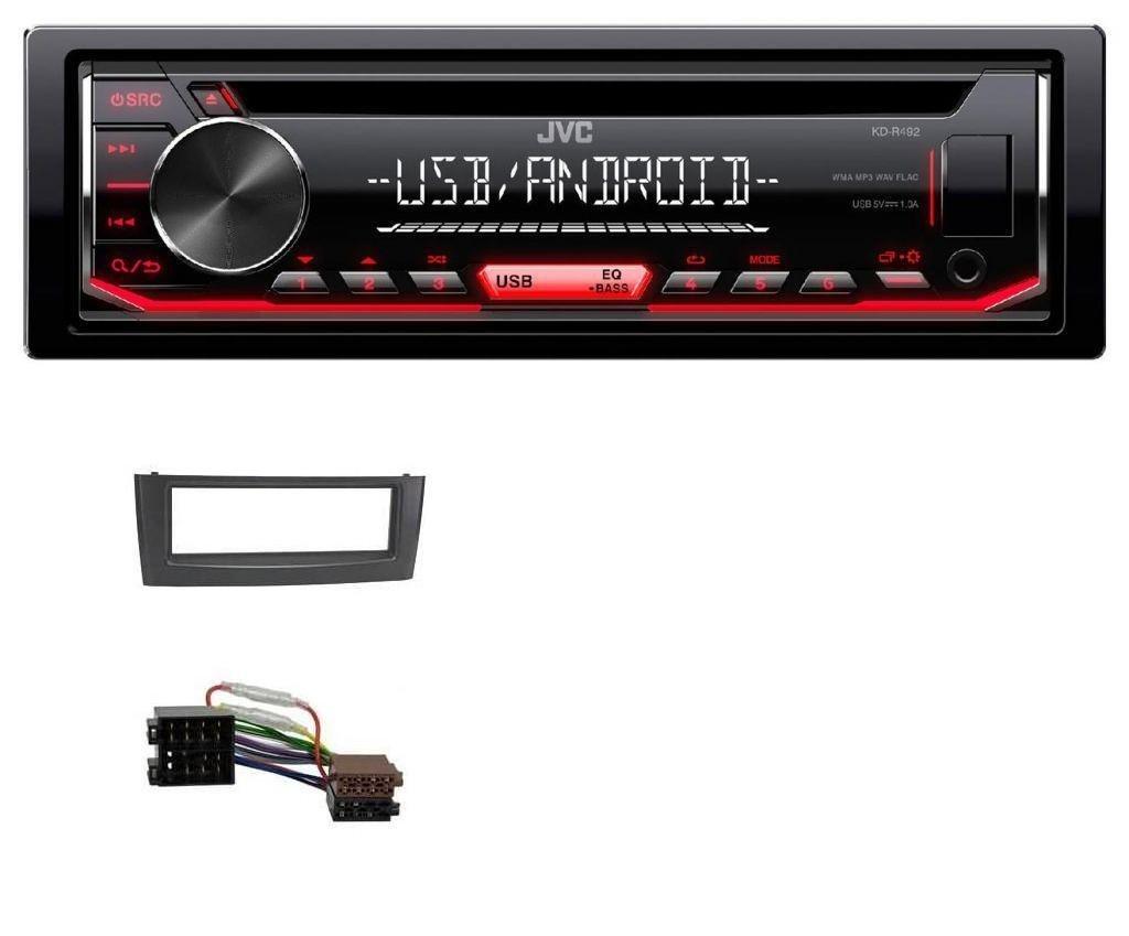 caraudio24 JVC KD-R492 CD Aux USB 1DIN MP3 Autoradio fü r FIAT Grande Punto Punto ab 05 Schwarz
