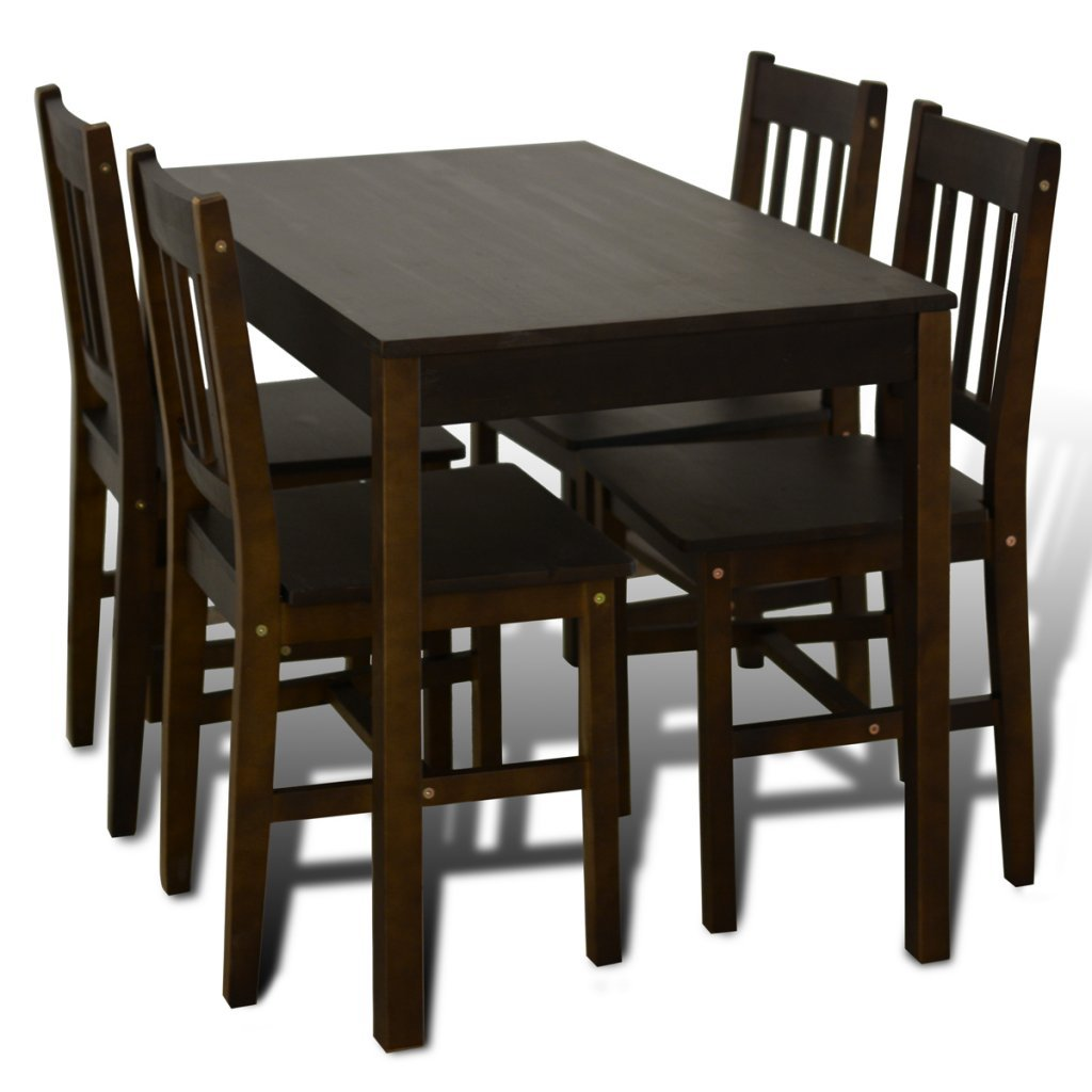VidaXL Wooden Dining Table With 4 Chairs Brown Amazoncouk Kitchen Home