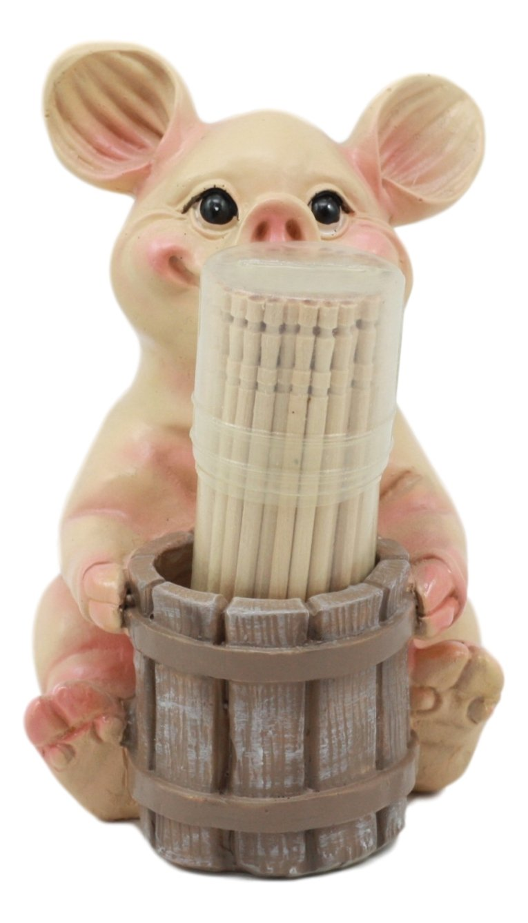 Ebros Country Farmland Barn Piglet Pig Toothpick Holder Statue 3.75''Tall With Toothpicks Babe Pig Figurine Excellent Present For Farmers Barn Animal Lovers Cute Home Kitchen Decor by Ebros Gift (Image #2)