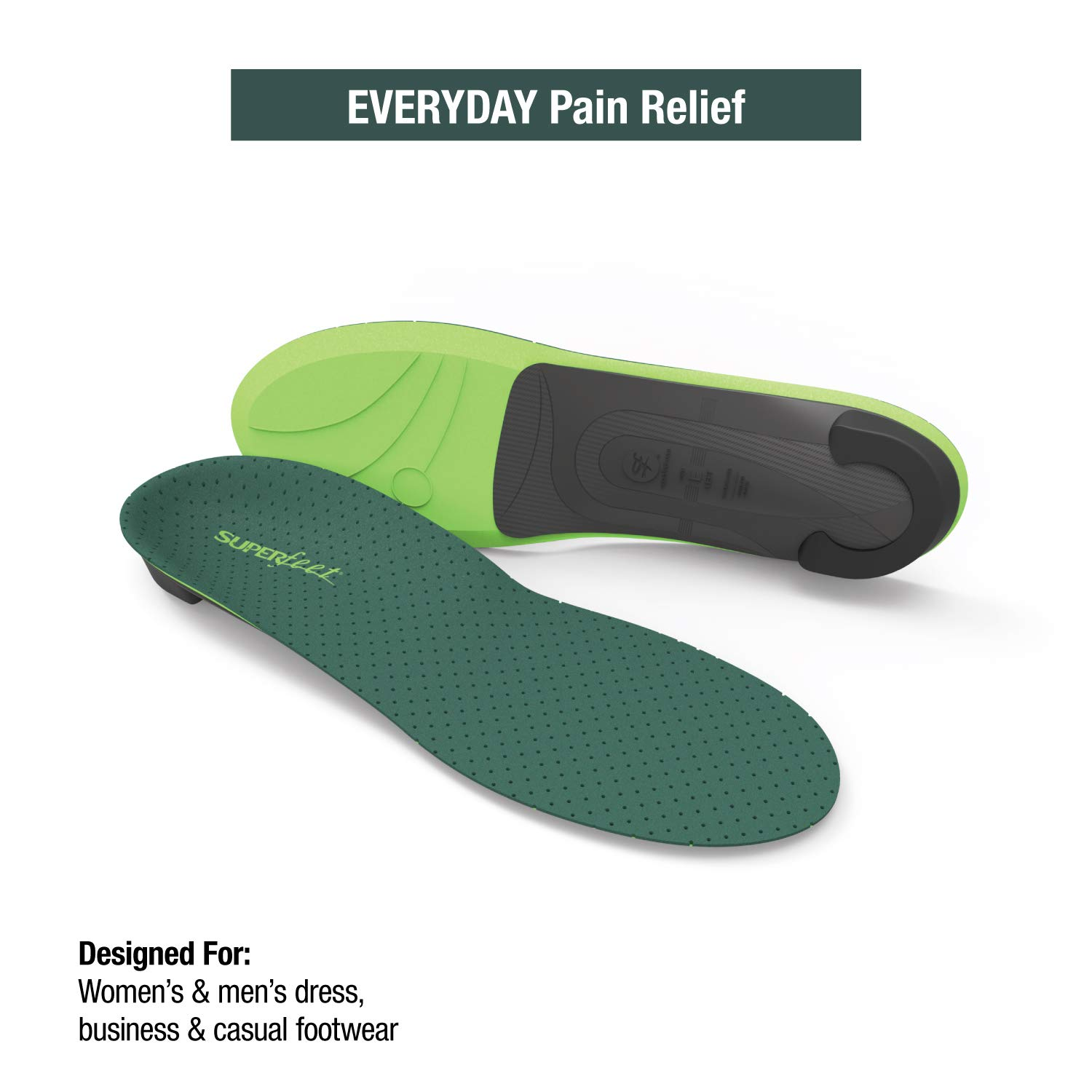 Superfeet Everyday Pain Relief Insoles, Customizable Heel Stability Professional-Grade Orthotic, Limestone, B: 4.5-6 US Womens / 2.5-4 US Juniors by Superfeet (Image #2)