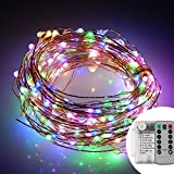 JLYSHOP String Lights, Starry Fairy String Lights Battery Powered 100 LED 33ft Copper Wire Lights, Indoor/Outdoor Decoration Lights for Garden, Home, Dance, Christmas Tree, Party (Multi)