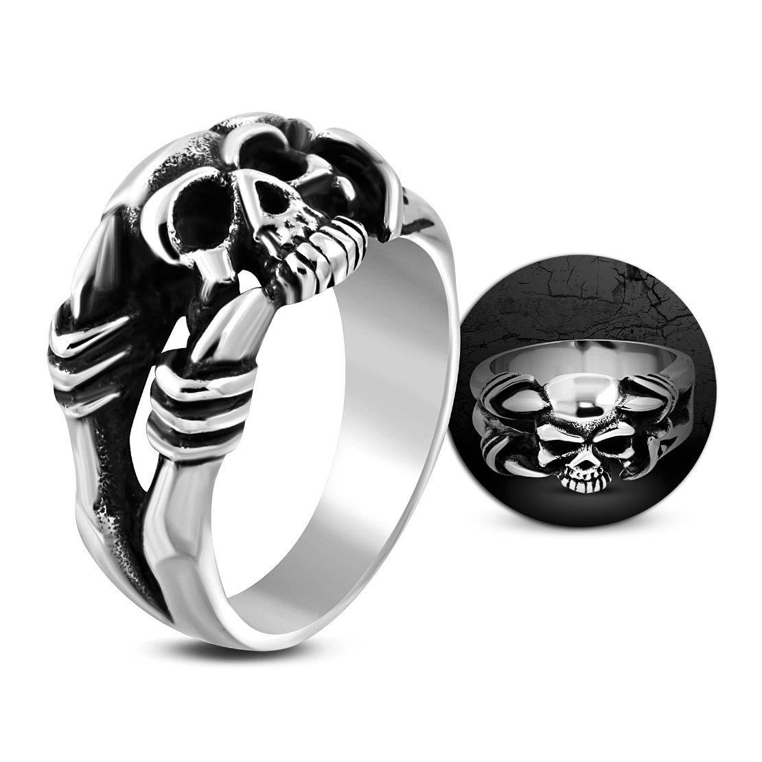 Stainless Steel 2 Color Ghost Skull Skeleton Hand Claw Biker Ring
