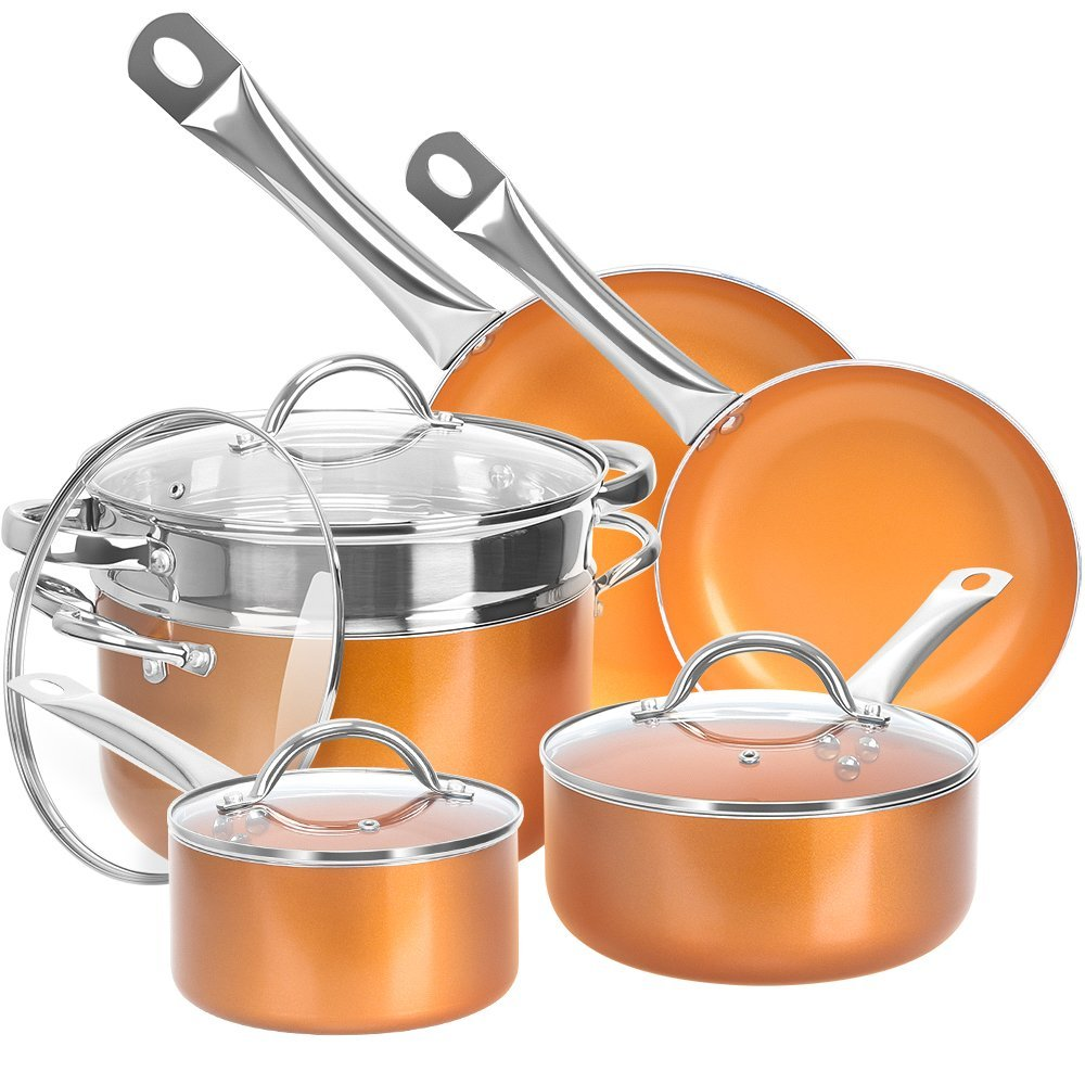 Shineuri Cookware Sets, Non-Stick Sauce/Frying/Skillet/Roasting Pots and Pans with Athermic Stainless Steel Handle, Apply to Electric, Gas, Ceramic, Induction, Pack-10, Non Toxic Kitchen Fry Basket by SHINEURI