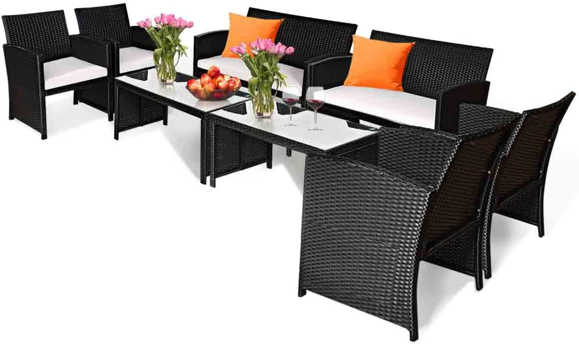 Tangkula 8-PCS Wicker Patio Conversation Set,Outdoor Rattan Sofas with Table Set, Patio Furniture Set with Soft Cushions & Tempered Glass Coffee Table for Poolside Courtyard Balcony (2, Black)