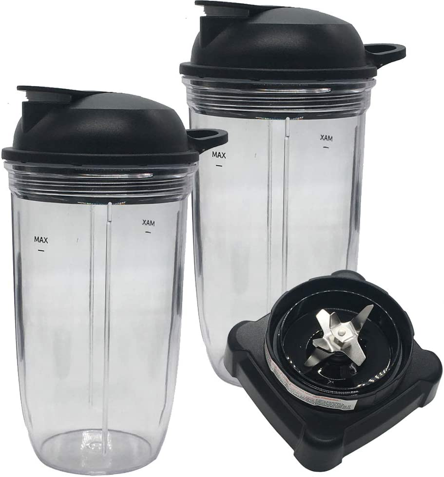 Replacement parts update extractor blade and 24oz cup with lid for Ninja Professional 72oz Countertop Blender BL660W/BL663/BL660/BL740/BL665Q/BL660WM/BL740A/BL660C/BL663CO/BL740C