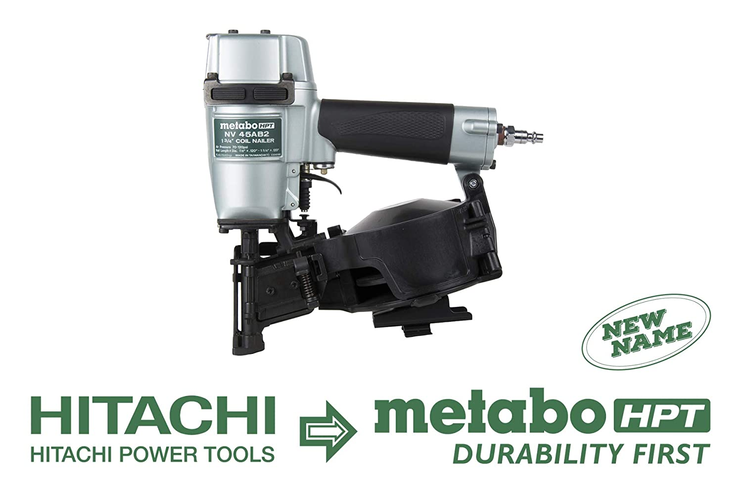 Metabo HPT NV45AB2 Roofing Nailer, 7 8-Inch up to 1-3 4-Inch Coil Nails, 16 Degree, Side Load, Nail Capacity – 120, Lightweight and Well-Balanced, 5 Year Warranty