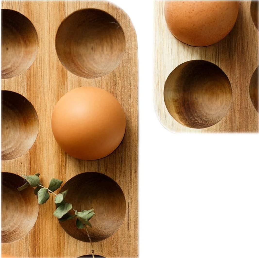 Wooden Egg Holder by ILLATO - Premium Acacia Wood Egg Tray | 12 Holes Egg Plate | Countertop Egg Tray | Tabletop Display or Refrigerator Storage, Deviled Egg Holder, Wooden Egg Skelter
