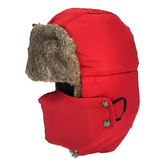 Uomini Donne Inverno Aviatore Cappello Cappuccio Caldo Paraorecchie  Antivento Trapper Bomber (rosso) 9f33e22acedc