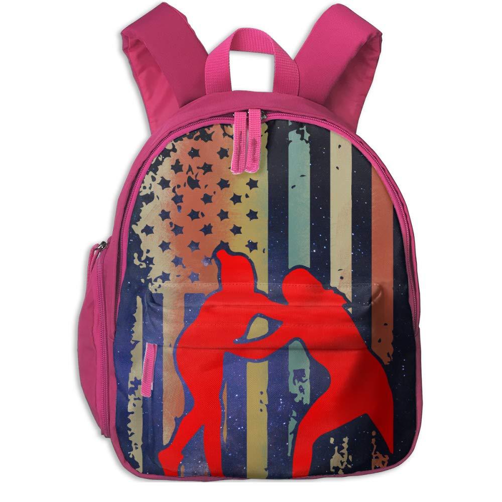 Wrestling Wrestler USA Flag Pride Children's Lightweight Canvas Travel Backpacks School Book Bag
