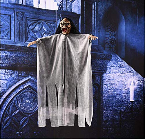 Halloween Hanging Ghost, Sound & Touch Activated Skeleton Ghost/Talking Switch with Red LED Eye,Halloween Flying Skeleton Spooky Ornaments Decor Home Yard Party Bar Outdoor Tree Window for $<!--$10.79-->