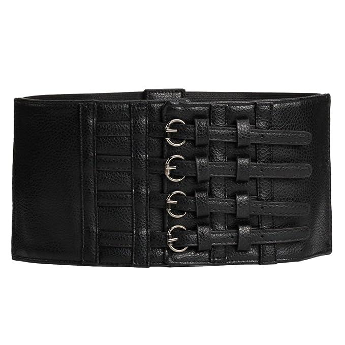 67939c258f Womens PU Leather Belt Elastic Stretchy Retro Wide Waist Cincher Belt  Corsets (Black