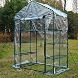 Outsunny 4 Tiers 8 Shelves Metal Frame Walk in Portable Greenhouse - Transparent