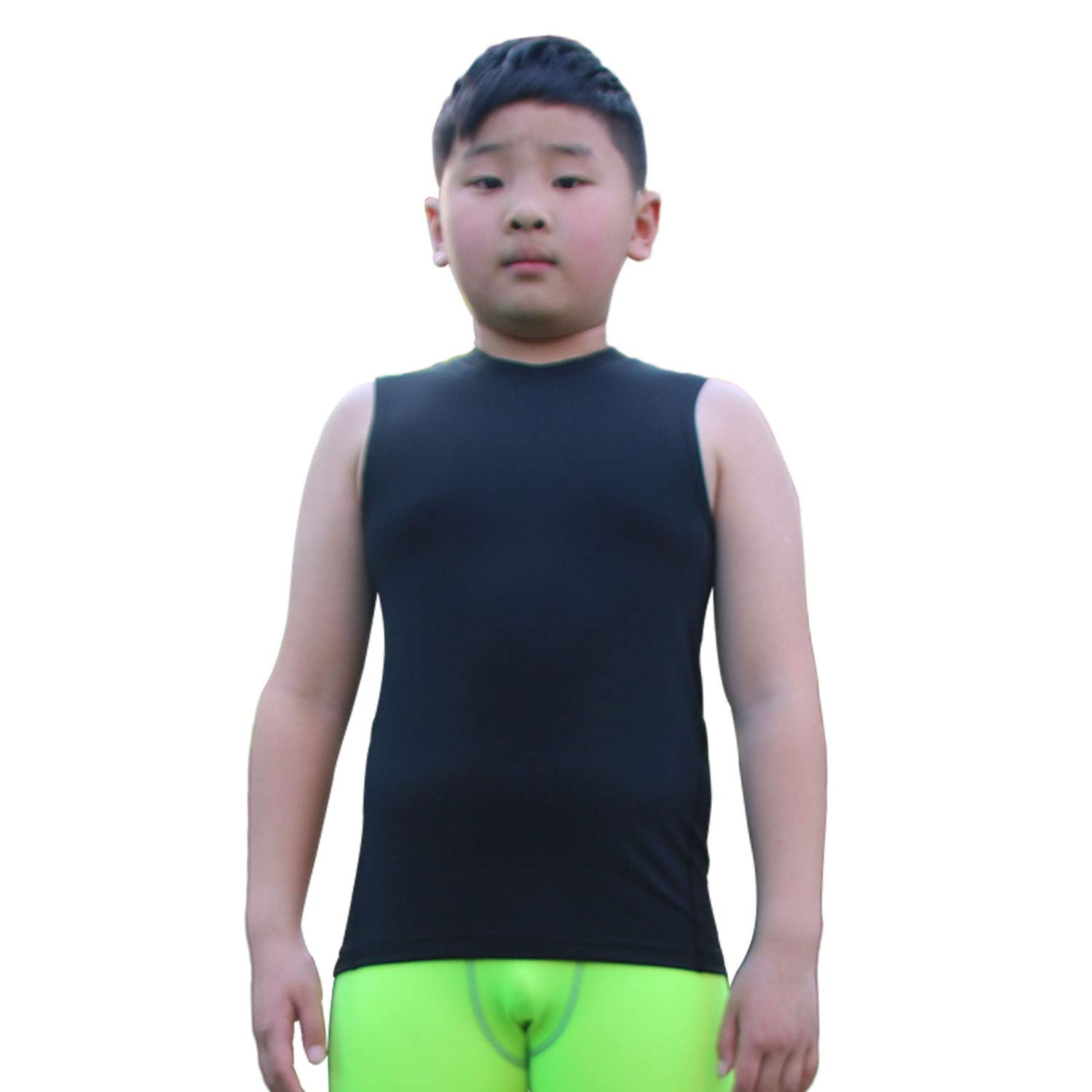 Children Boys Sports Compression Vest Crew Neck Sleeveless Shirts Tank Top 3 Pcs