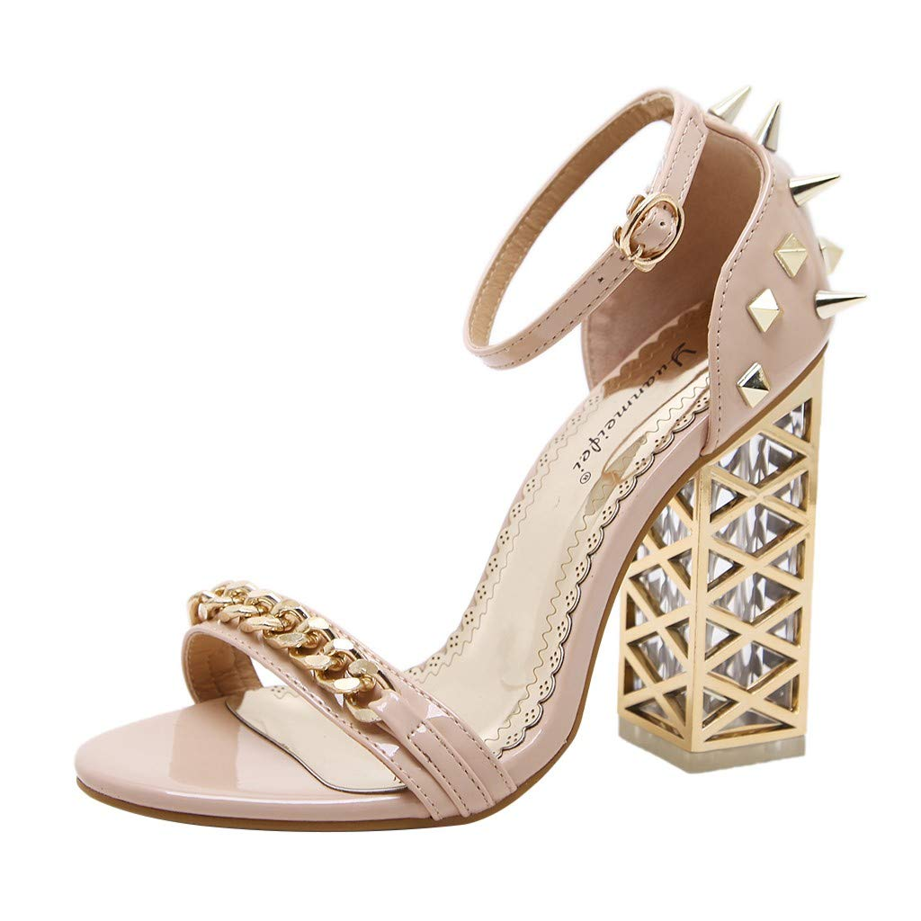 Nadition Luxury Party Sandals ❤️️ Women's Fashion Crystal Rivets Hollow High Heels Shoes Summer One Word Buckle Sandals Beige