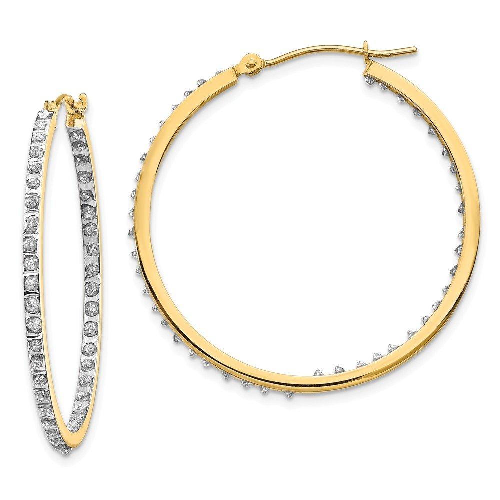 FB Jewels Solid 14K Yellow Gold Diamond Fascination Round Hinged Hoop Earrings