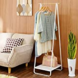 Bedroom hanging rack wrought iron coat rack simple clothes of Japanese style floor Foyer iron wood coat rack,White