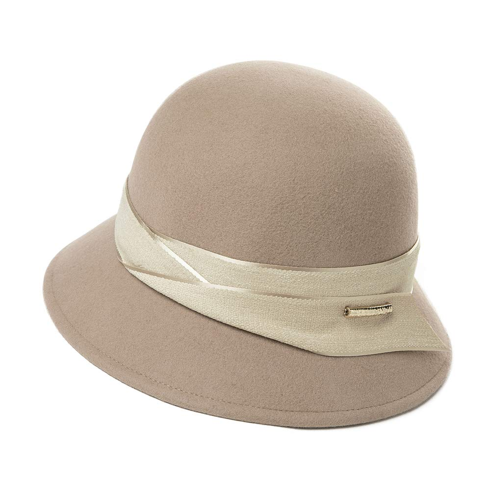 Womens 100% Wool Derby Party Hat 1920s Fedora Round Bucket Fall Felt Winter Bowler Cloche Camel by Fancet (Image #1)
