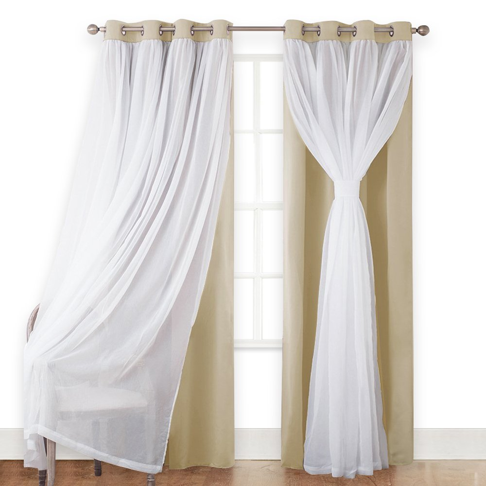 PONY DANCE Beige Curtains Light Block Voile - Home Decor Curtain Drapes Double Layers Window Treatments Panels living Room/Bedroom, 52 63 inches, Beige, Set two