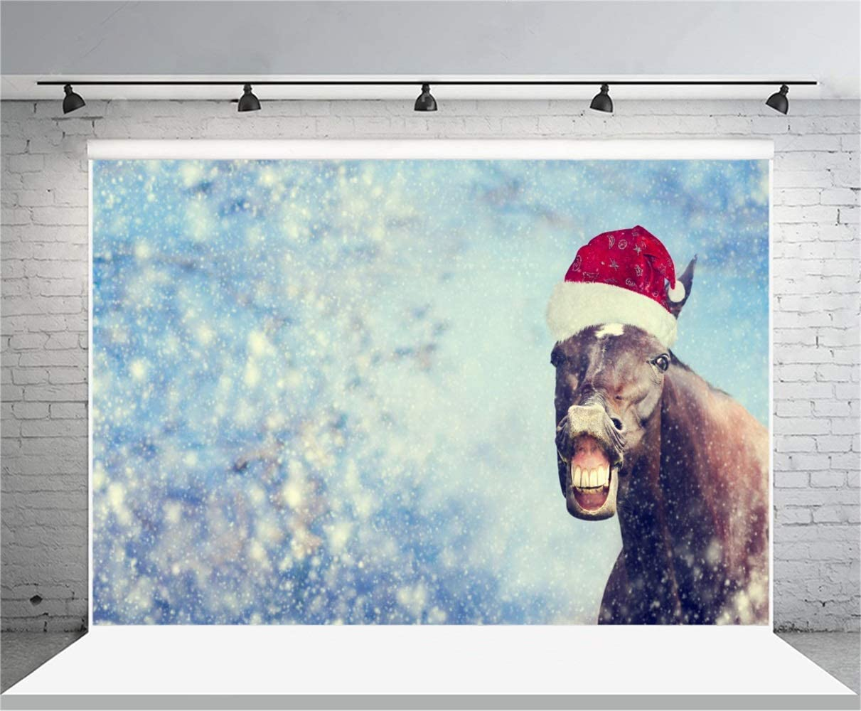 Christmas Theme Backdrop 10x6.5ft Polyester Funny Grinning Christmas Horse in Santa Hat Dreamy Snowy Haloes Photography Background Long Horse Teeth Poster Kids Baby Shoot Party Banner