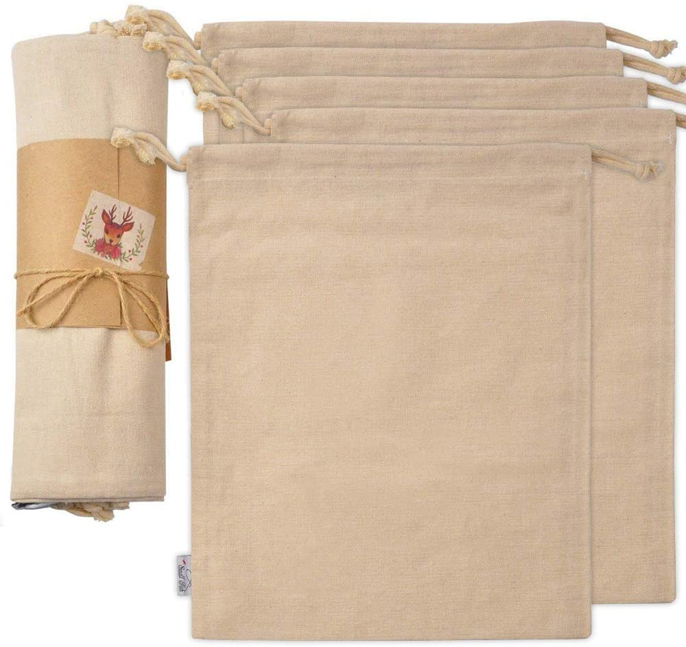 Organic Cotton Produce Bags, Large Reusable Canvas Muslin Storage and Organizing Drawstring Fabric Sack for Shopping, Laundry, Grocery, Vegetable, Gift & More, 5 Bulk Washable 11.5 x13.5 Inch Cloth