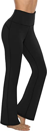 Kstare Women Boot-Cut Yoga Pants High Waisted Workout Non See-Through Tummy Control Leggings Straight Stretch Trousers