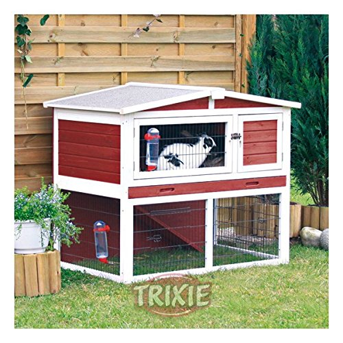Rabbit Hutch with Peaked Roof (M), Red/White by Trixie