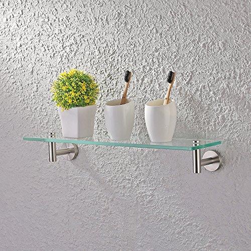 (KES 20-Inch Glass Shelf Bathroom Storage Organizer Shelf with 8 MM-Thick Tempered Glass and Brushed Nickel Rustproof Metal Bracket Wall Mount Rectangular, A2021-2)