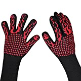 Smiler+ BBQ Grill Gloves, Heat Resistant Up to 932⁰F, Insulated Kitchen Cooking Baking & Non-Slip Grilling Gloves for Barbecue Garden Outdoor Indoor