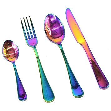 Cuchillos y tenedores de colores iridiscentes, cucharas de ...