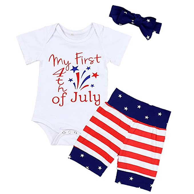 2201922e6 Baby Boys Girls My First 4th of July Romper Independence Day Newborn Infant  Clothes Short Sleeve