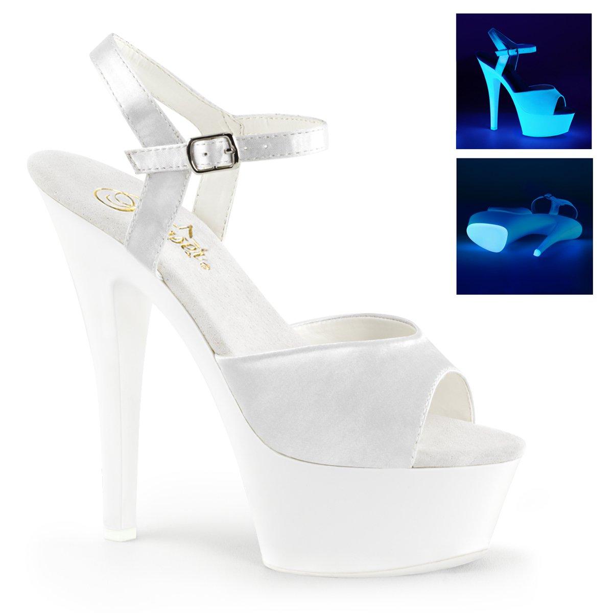 Pleaser Womens KISS-209UV Sandals B013LH8QH2 11 B(M) US Wht Satin/Neon Wht