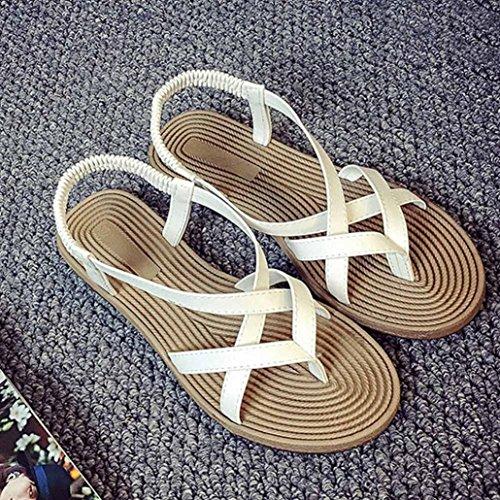 Calzado de mujer,Amlaiworld Mujer zapatos planos vendaje Bohemia ocio mujer sandalias Blanco