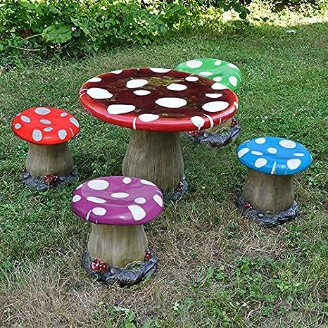 Fiesta Studios - Juego de taburetes de Mesa y taburetes Multicolores (1 Mesa y 4 taburetes) – Muebles de jardín Infantiles para el Taburete Pixie Fairy: Amazon.es: Jardín