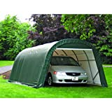 ShelterLogic 12-Ft.W Round-Style Instant Garage – 20ft.L x 13ft.W x 10ft.H, 1 5/8in. Frame, Green, Model# 73342, Outdoor Stuffs