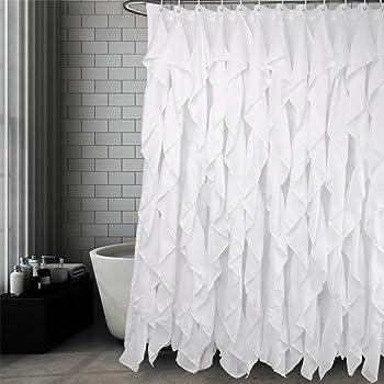 Volens White Ruffle Shower Curtain Fabric Farmhouse Bath 72x72 Inch Long