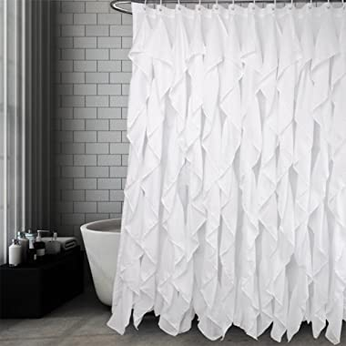 Volens White Ruffle Shower Curtain Farmhouse Fabric Cloth Shower Curtains for Bathroom, 72x72 in Long