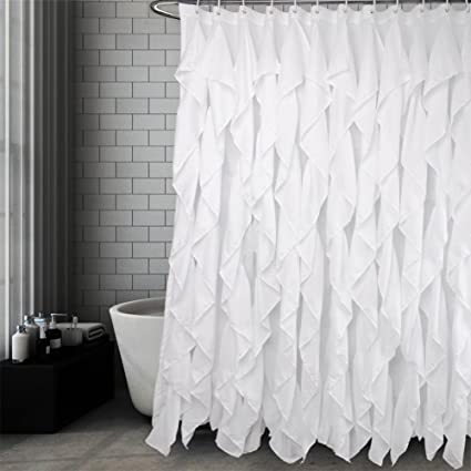 Volens White Ruffle Shower Curtain Fabric Farmhouse Bath 72x72 Inch Long