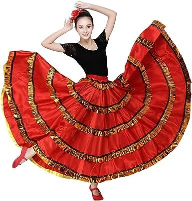 Falda de Flamenco para Mujer Disfraz de Bellydancer Falda de ...