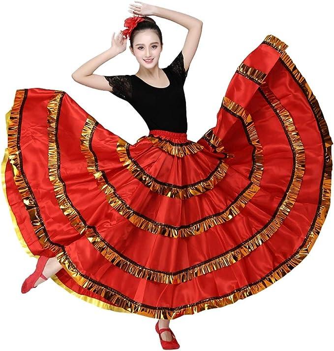 Falda de Flamenco para Mujer Disfraz de Bellydancer Falda de Baile ...