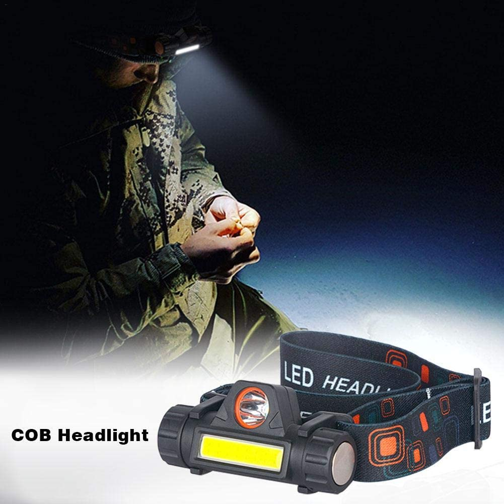 COB Emergency Headlight USB Rechargeable Multifunctional Head-Mounted 18650 Battery Headlight Flashlight 8 3.5 3cm // 3.15 1.38 1.18in
