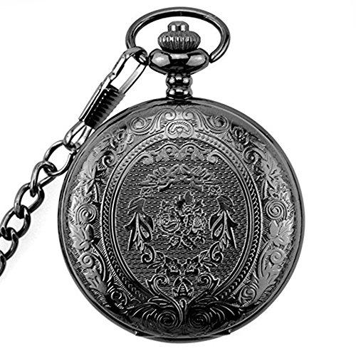 Powshop Vintage Stainless Quartz Pocket Watch with 14.8'' Chain Classic Sculptured Fob Pocket Watch (Black)