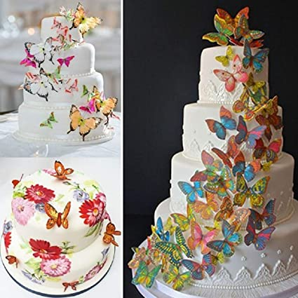 Amazon Com 1 Lot 20pcs 3d Edible Butterfly Cake Decoration Wedding