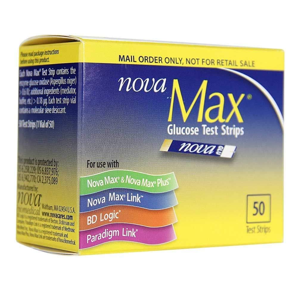 NovaMax Glucose Test Strips, Box of 50 Strips