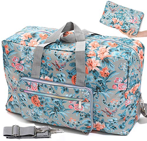 Ladies Women Foldable Travel Duffle Bag - Cute Floral Weekender Overnight Carry-on Bag - Large Hospital Bag (Z-Bird - Cotton Duffle